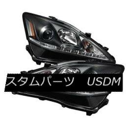 ヘッドライト Lexus 06-10 IS250 IS350 Black DRL Bright White LED Projector Headlights Set レクサス06-10 IS250 IS350ブラックDRLブライトホワイトLEDプロジェクターヘッドライトセット