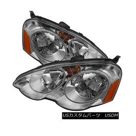 ヘッドライト Acura 02-04 RSX Chrome Housing Replacement Headlights Left + Right Type-S L アキュラ02-04 RSXクロームハウジング交換ヘッドライト左+右タイプ-S L
