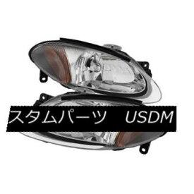 ヘッドライト Ford 98-03 Escort ZX2 2dr Coupe Chrome Housing Replacement Headlights Pair Set フォード98-03エスコートZX2 2drクーペクロムハウジング交換ヘッドライトペア