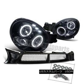 ヘッドライト 2002-2003 Impreza Halo LED Projector Headlight Glossy Black+ABS Mesh Hood Grille 2002-2003 Impreza Halo LEDプロジェクターヘッドライト光沢ブラック+ ABSメッシュフードグリル