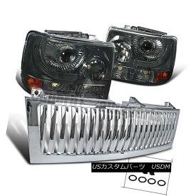 ヘッドライト 1999-2002 Silverado 1500/2500 Smoke Projector Headlights+Chrome Vertical Grille 1999-2002 Silverado 1500/2500煙プロジェクターヘッドライト+ Chr ome Vertical Grille