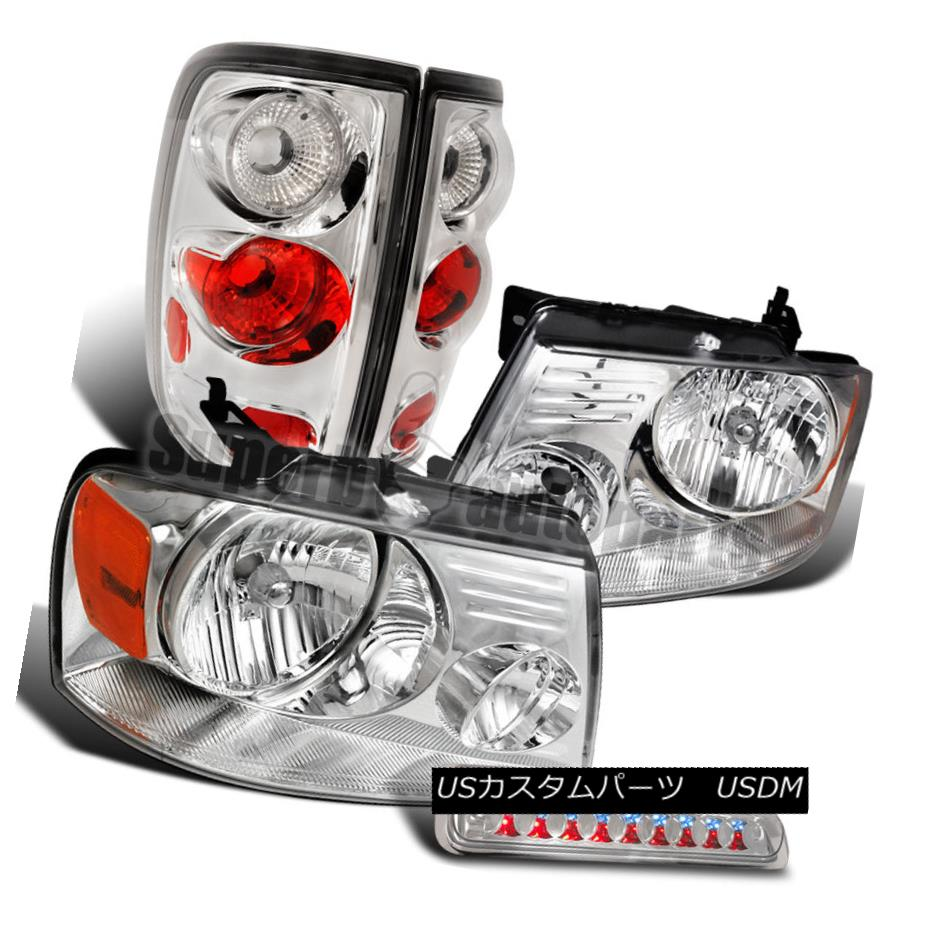 ヘッドライト 2004-2008 Ford F150 Styleside Chrome Headlights+Clear Tail+3rd Brake Lamps 2004-2008 Ford F150 Styleside Chromeヘッドライト+ Cle arテール+第3ブレーキランプ