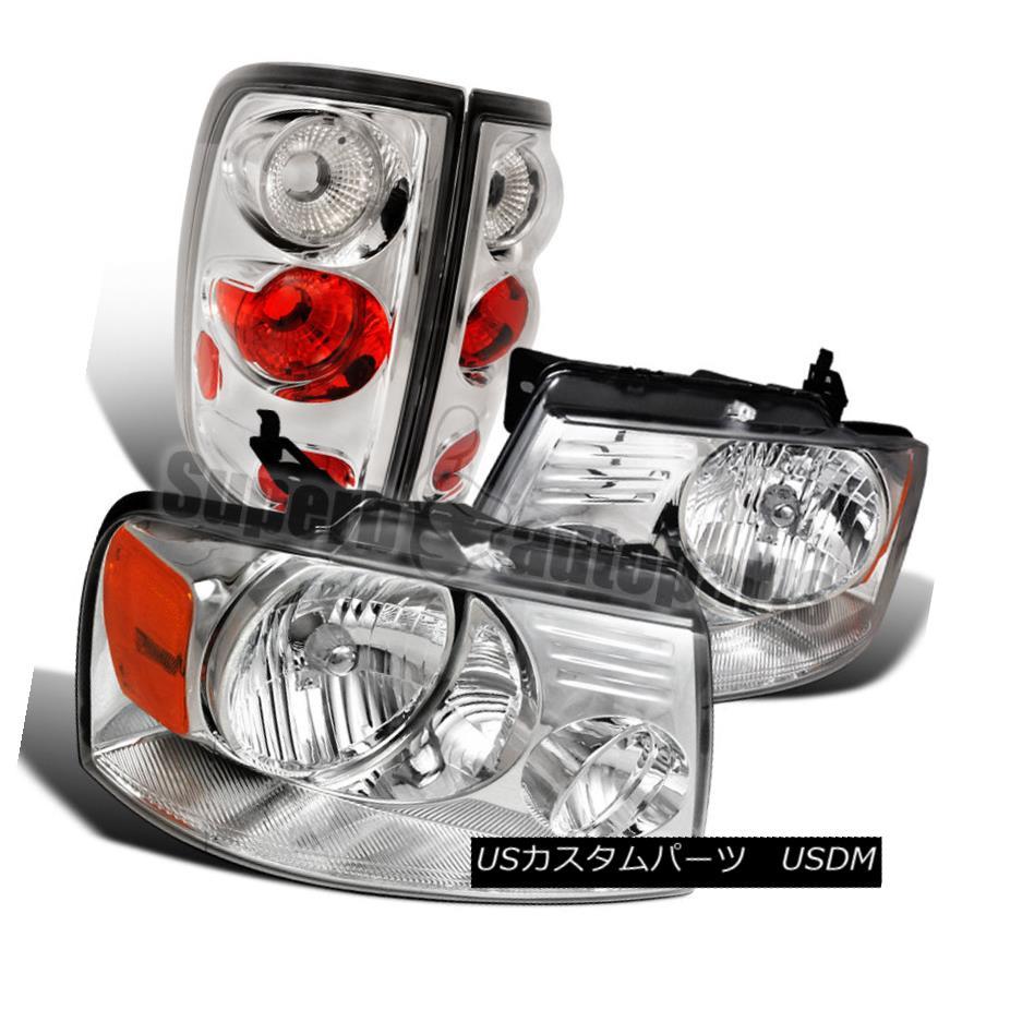 ヘッドライト 2004-2008 Ford F150 Styleside Chrome Headlights+Tail Brake Lamps 2004-2008フォードF150 Stylesideクロームヘッドライト+タイ lブレーキランプ