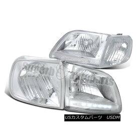 ヘッドライト 1997-2003 Ford Expedition Clear LED Headlights+Chrome Corner Signal Lights F150 1997-2003 Ford ExpeditionクリアLEDヘッドライト+ Chr omeコーナー信号ライトF150
