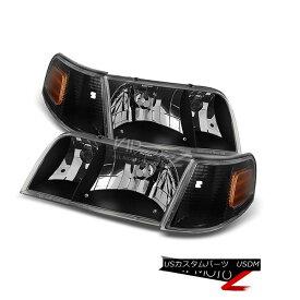 ヘッドライト 1998-2011 Ford Crown Victoria Black Front Headlights Corner Signal [4PC Combo] 1998?2011年フォードクラウンビクトリアブラックフロントヘッドライトコーナー信号[4PCコンボ]