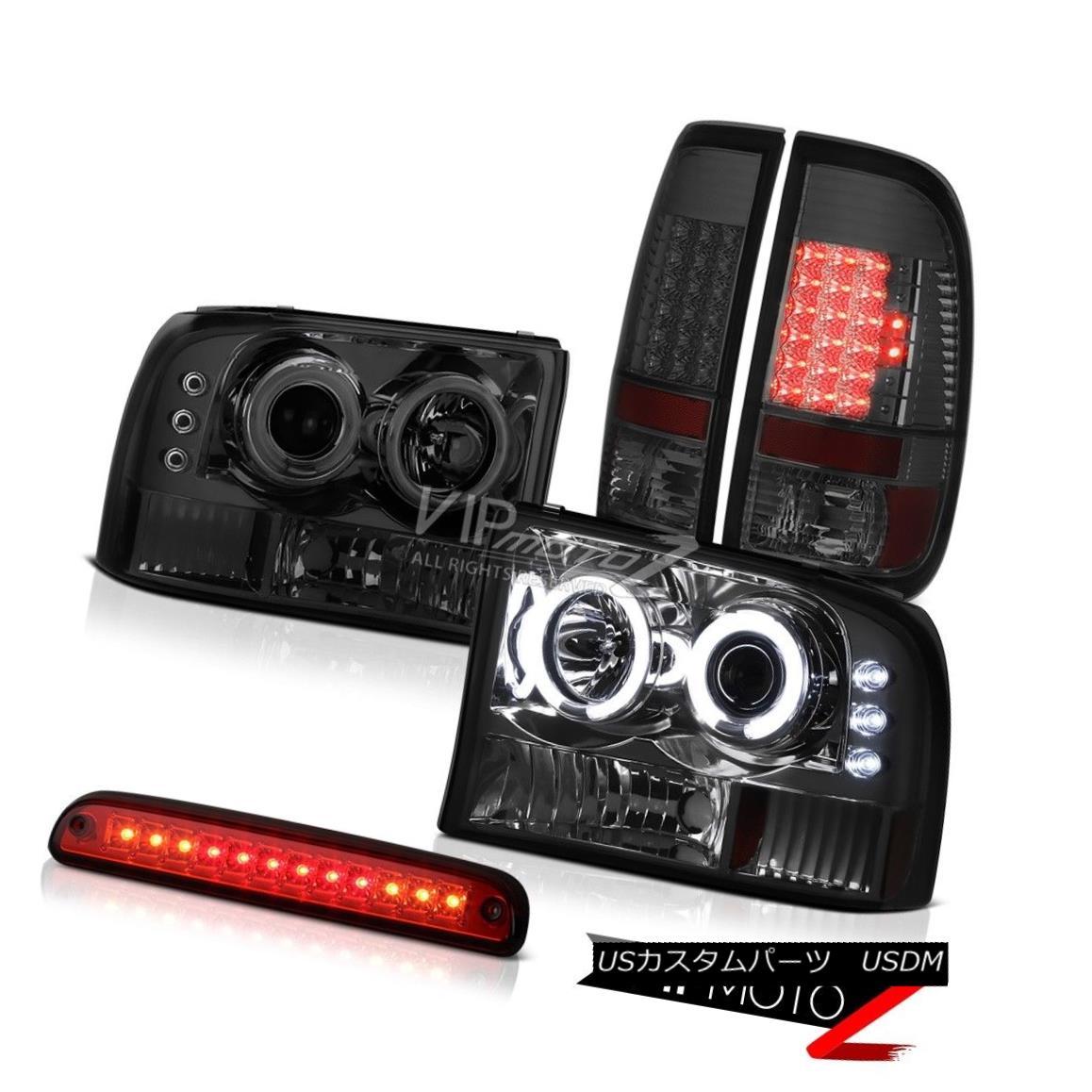 ヘッドライト 99-04 Ford F350 5.4L Smoke CCFL Ring Headlights Tail Lights LED High Stop Red 99-04 Ford F350 5.4L煙CCFLリングヘッドライトテールライトLEDハイストップレッド