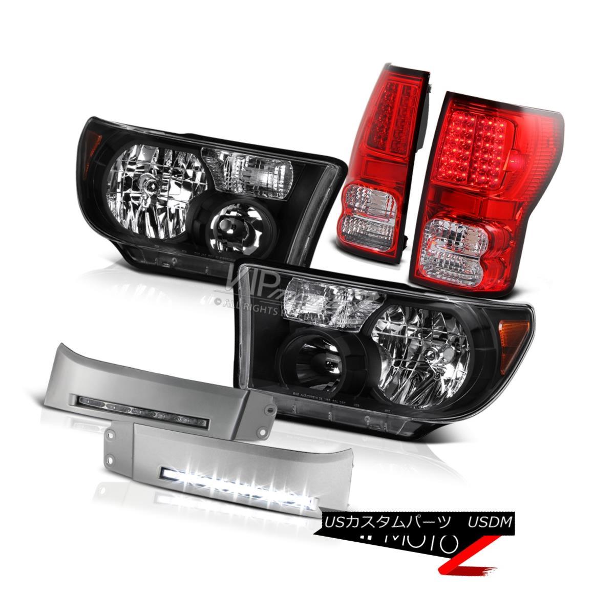 ヘッドライト 2007-2013 Toyota Tundra Red /Clear Brake Tail Lights Black Headlight White DRL 2007-2013トヨタトンドラレッド/クリアブレーキテールライトブラックヘッドライトホワイトDRL