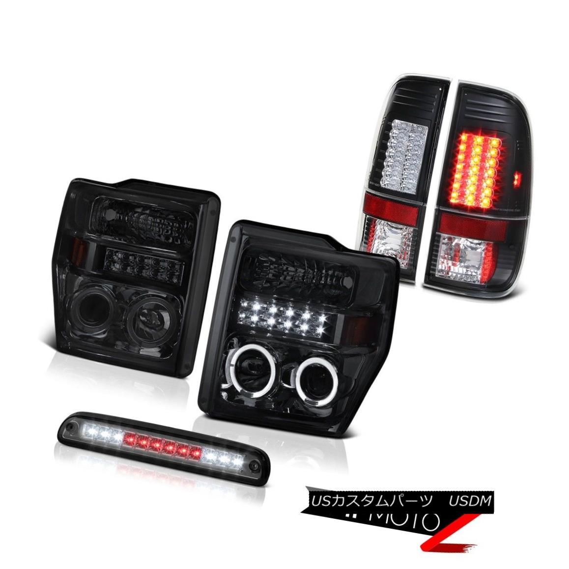 ヘッドライト Projector Smoke Headlight Tinted 3rd Brake LED Bulbs Tail Light 08-10 Ford F250 プロジェクター煙ヘッドライト第3ブレーキLED電球テールライト08-10 Ford F250
