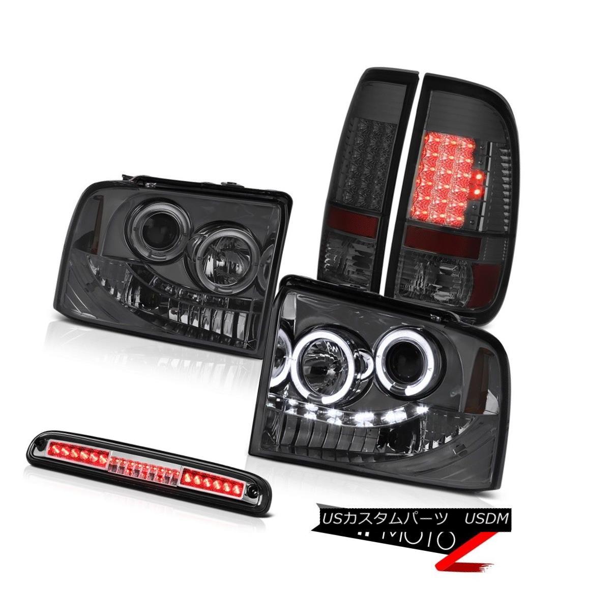 ヘッドライト 05 06 07 Ford F250 SD Halo Headlights Smoke Rear Brake Tail Lights High Stop LED 05 06 07フォードF250 SDハローヘッドライトスモークリアブレーキテールライトハイストップLED