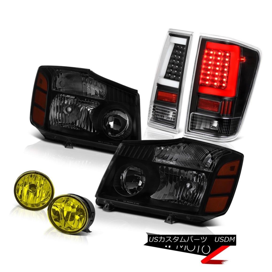ヘッドライト 04 05 06-14 For Nissan Titan Bright Yellow Spot Inky Black Rear Head Lamps Pair 04 05 06-14日産自動車タイタン用明るいイエロースポットInky Blackリアヘッドランプペア