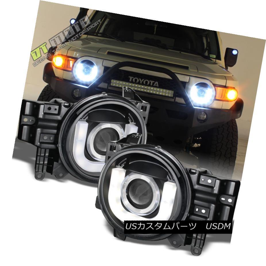 ヘッドライト Blk 2007-2014 Toyota FJ Cruiser 3D-DRL LED Tube Projector Headlights Left+Right Blk 2007-2014トヨタFJクルーザー3D-DRL LEDチューブプロジェクターヘッドライト左+右