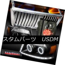 ヘッドライト 04-08 F150 Black LED Headlights+Chrome Front Grille+Tint LED Tail 3rd Stop Lamps 04-08 F150ブラックLEDヘッドライト+ Chr omeフロントグリル+ティントLEDテール第3ストップランプ