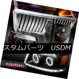 ヘッドライト 04-08 F150 Black LED Headlights+Chrome Front Grille+Tint Tail LED 3rd Stop Lamps 04-08 F150ブラックLEDヘッドライト+ Chr omeフロントグリル+ティントテールLED第3ストップランプ