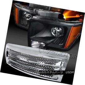 ヘッドライト 09-14 F150 Black Retrofit Projector Headlights+Chrome Round Hole Style Grille 09-14 F150ブラックレトロフィットプロジェクターヘッドライト+ Chr ome丸穴スタイルグリル