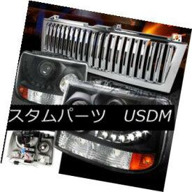 ヘッドライト 99-02 Silverado Tahoe Black SMD LED Projector Headlights+Chrome Vertical Grille 99-02 Silverado Tahoe Black SMD LEDプロジェクターヘッドライト+ Chr ome Vertical Grille