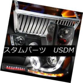 ヘッドライト 04-08 F150 Black SMD Halo Headlights+Chrome Front Grille+Tint Tail LED 3rd Lamps 04-08 F150ブラックSMDハローヘッドライト+ Chr omeフロントグリル+ティントテールLED第3ランプ