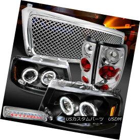 ヘッドライト 04-08 F150 Black Halo Headlights+Chrome Tail LED 3rd Brake Lamps+Mesh Grille 04-08 F150ブラックハローヘッドライト+ Chr omeテールLED第3ブレーキランプ+メッシュグリル