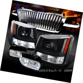 ヘッドライト 03-05 Silverado Black Projector Headlights+Chrome Fog Lamps+Hood Grille 03-05 Silveradoブラックプロジェクターヘッドライト+ Chr omeフォグランプ+フードグリル