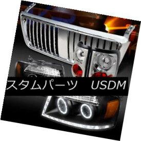 ヘッドライト 04-08 F150 Black Halo LED Projector Headlights+Chrome Tail Lamps+Grille 04-08 F150ブラックHalo LEDプロジェクターヘッドライト+ Chr omeテールランプ+グリル