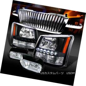 ヘッドライト 03-05 Silverado Black SMD LED Headlights+Chrome Fog Lamps+Hood Grille 03-05 Silverado Black SMD LEDヘッドライト+ Chr omeフォグランプ+フードグリル