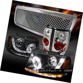 ヘッドライト 04-08 F150 Black SMD LED Projector Headlights+Chrome Mesh Grille+Tail Lamps 04-08 F150ブラックSMD LEDプロジェクターヘッドライト+ Chr メッシュグリル+テールランプ