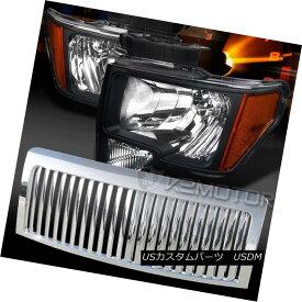 ヘッドライト 09-14 F150 Black Crystal Headlights+Chrome Vertical Bumper Hood Grille 09-14 F150ブラッククリスタルヘッドライト+ Chr ome垂直バンパーフードグリル