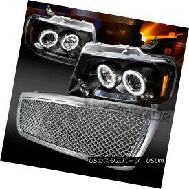 ヘッドライト 2004-2008 Ford F150 Black LED Halo Projector Headlights+Chrome Hood Mesh Grille 2004-2008フォードF150ブラックLEDハロープロジェクターヘッドライト+ Chr omeフードメッシュグリル