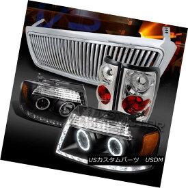 ヘッドライト 04-08 F150 Black LED DRL Projector Headlights+Chrome Vertical Grille+Tail Lamps 04-08 F150ブラックLED DRLプロジェクターヘッドライト+ Chr ome垂直グリル+テールランプ