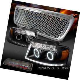 ヘッドライト 04-08 F150 Black LED Projector Headlights+Chrome Mesh Grille+Tint LED 3rd Brake 04-08 F150ブラックLEDプロジェクターヘッドライト+ Chr omeメッシュグリル+ティントLED第3ブレーキ