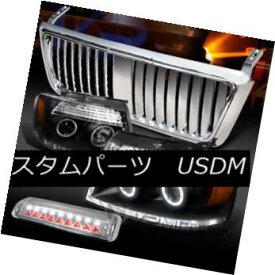 ヘッドライト 04-08 F150 Black Halo Projector Headlights+Chrome Vertical Grille+LED 3rd Brake 04-08 F150ブラックハロープロジェクターヘッドライト+ Chr ome垂直グリル+ LED第3ブレーキ