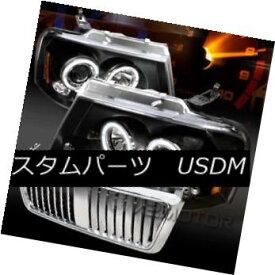 ヘッドライト 04-08 F150 Black Halo LED Projector Headlights+Chrome Vertical Hood Grille 04-08 F150ブラックハローLEDプロジェクターヘッドライト+ Chr ome垂直フードグリル