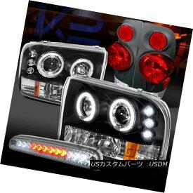 ヘッドライト 99-04 F250 Black Halo Projector Headlights+Chrome Tail Lamps+Clear LED 3rd Brake 99-04 F250ブラックハロープロジェクターヘッドライト+ Chr omeテールランプ+ Clear LED 3rdブレーキ