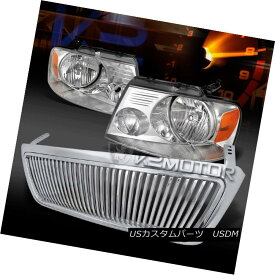 ヘッドライト 2004-2008 Ford F150 Crystal Front Headlights+Chrome Vertical Hood Grille 2004-2008 Ford F150クリスタルフロントヘッドライト+ Chr ome Vertical Hood Grille