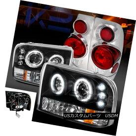 ヘッドライト 99-04 F250 Super Duty Black Halo LED Projector Headlights+Chrome 3D Tail Lamps 99-04 F250スーパーデューティーブラックハローLEDプロジェクターヘッドライト+ Chr ome 3Dテールランプ