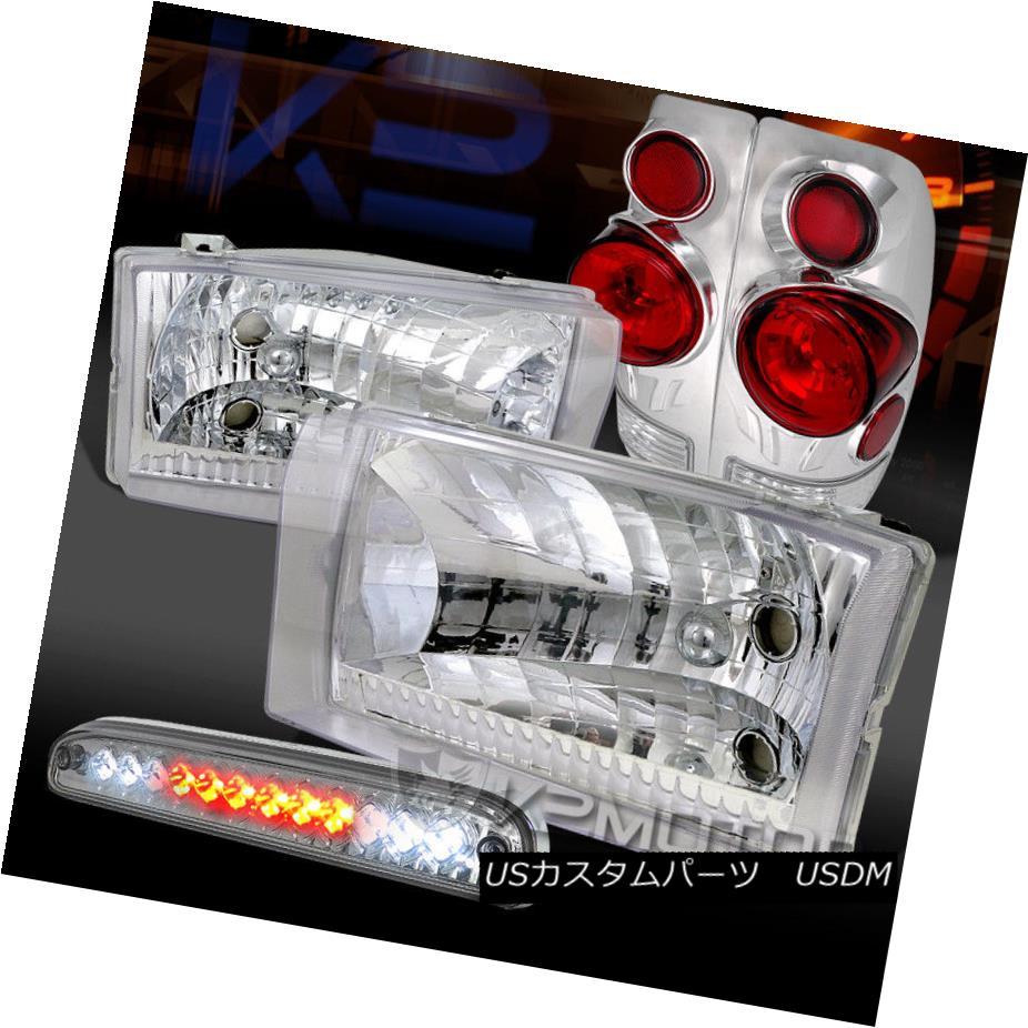 ヘッドライト 99-04 Ford F250/350/450 Chrome Headlights+3D Tail Lamps+Clear LED 3rd Brake 99-04 Ford F250 / 350/450クロームヘッドライト+ 3Dテールランプ+クリアLED第3ブレーキ