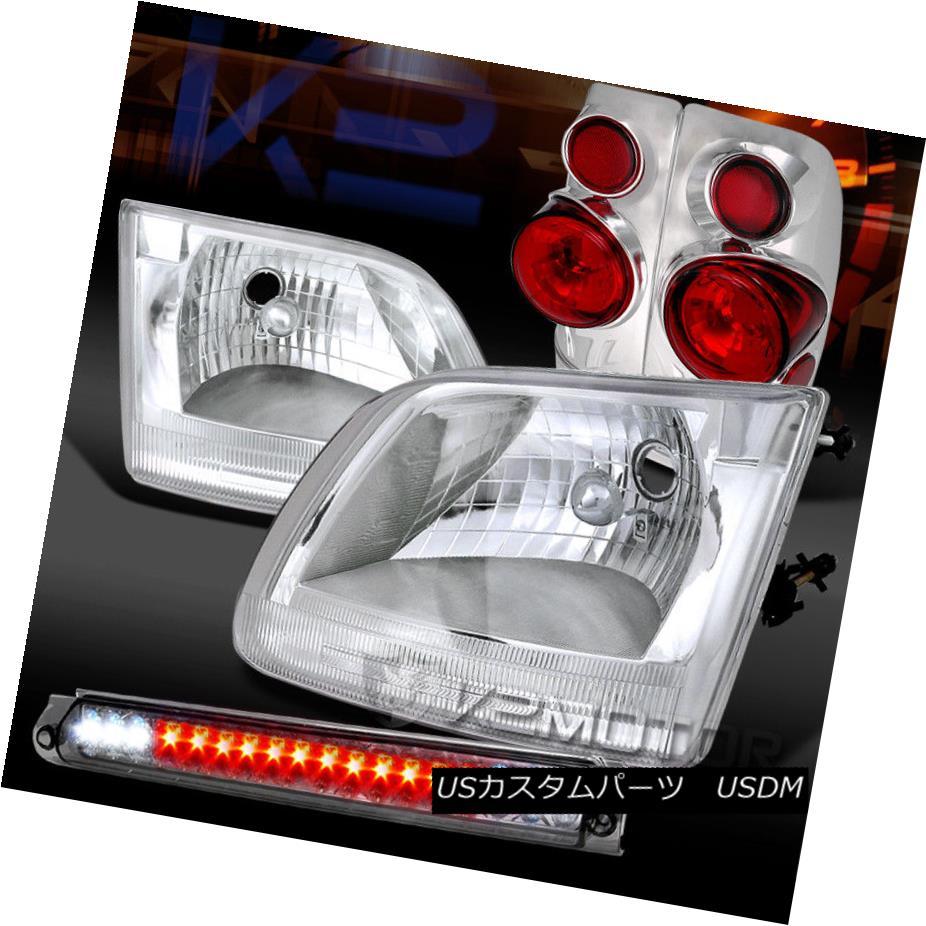 ヘッドライト 97-03 Ford F150 Chrome Headlights+Smoke LED 3rd Brake+Clear 3D Tail Lights 97-03 Ford F150クロームヘッドライト+ Smo ke LED 3rdブレーキ+クリア3Dテールライト
