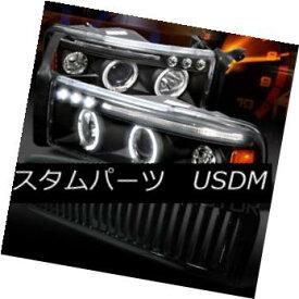 ヘッドライト 94-01 Ram Halo LED Projector Headlights+Glossy Black Vertical Hood Grille 94-01 Ram Halo LEDプロジェクターヘッドライト+グロー ssyブラック縦型フードグリル