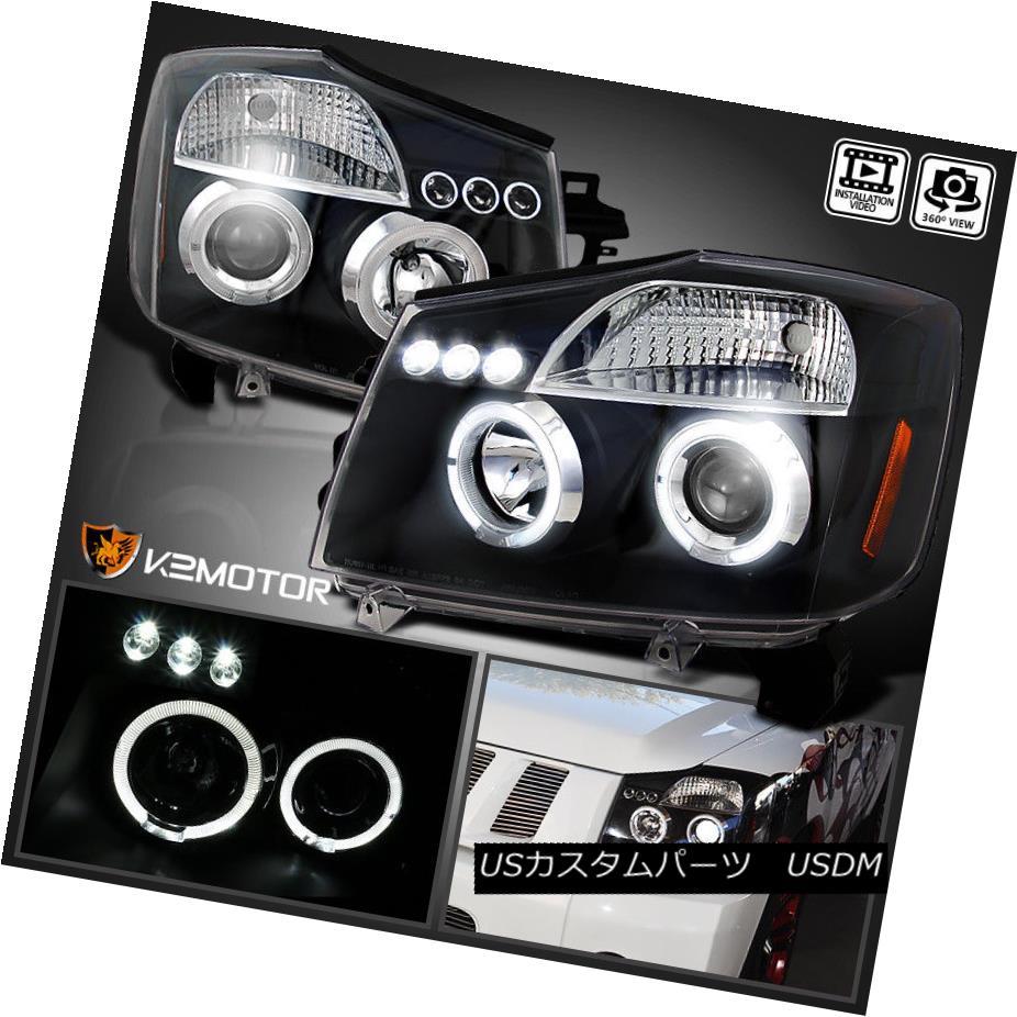 ヘッドライト LED Halo Projector Headlights Black For 2004-2015 Nissan Titan/2004-2007 Armada 2004年?2015年のLED Haloプロジェクターヘッドライト日産自動車タイタン/ 2004-200 7 Armada