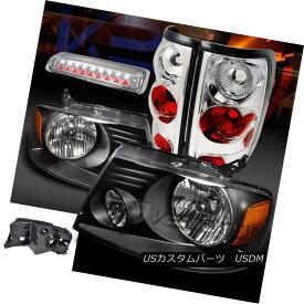 ヘッドライト Ford 04-08 F150 Black Headlights+Chrome Tail Lamps+Clear LED 3rd Brake Light フォード04-08 F150ブラックヘッドライト+ Chr omeテールランプ+クリアLED第3ブレーキライト