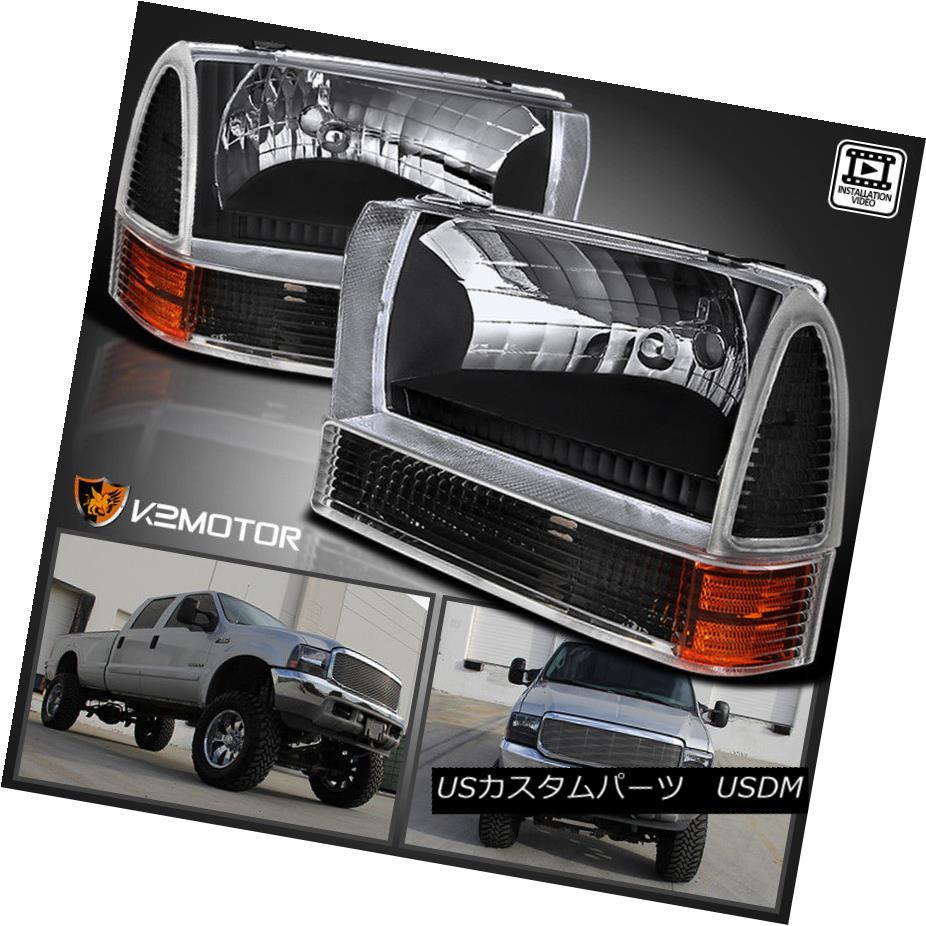 ヘッドライト 99-04 Ford F250 F350 F450 SuperDuty Excursion Black Headlights+Corner Lamps 4PC 99-04 Ford F250 F350 F450 SuperDutyエクスカーションブラックヘッドライト+ Cor ner Lamps 4PC