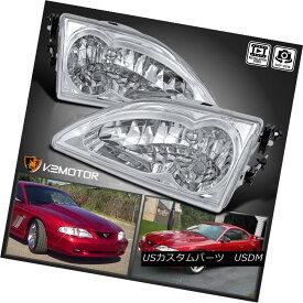 ヘッドライト 94-98 Ford Mustang Chrome Clear Crystal Headlights Lamps 94-98フォードマスタングクロームクリアクリスタルヘッドライトランプ