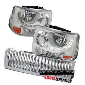 ヘッドライト 99-02 Chevy Silverado Clear LED 1PC Style Headlights+Chrome Vertical Hood Grille 99-02 Chevy SilveradoクリアLED 1PCスタイルヘッドライト+ Chr ome Vertical Hood Grille
