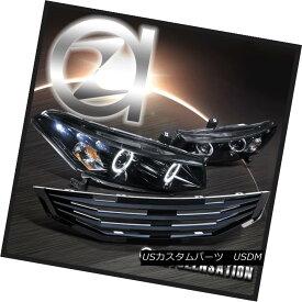 ヘッドライト Fit 2008-2010 Honda Accord 2DR Glossy Black Projector Headlights+MU Hood Grille フィット2008-2010ホンダアコード2DR光沢ブラックプロジェクターヘッドライト+ MUフードグリル
