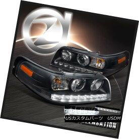 ヘッドライト 98-11 Crown Victoria Black 1PC Style Projector Headlights+6-LED DRL Fog Lamps 98-11クラウンビクトリアブラック1PCスタイルプロジェクターヘッドライト+ 6-L ED DRLフォグランプ