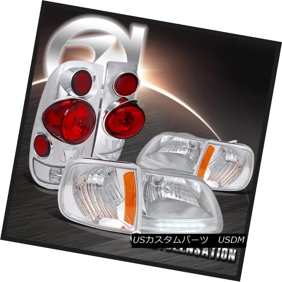 ヘッドライト Ford 97-03 F150 Chrome LED DRL Headlights+Corner Lamps+3D Retro Tail Lights フォード97-03 F150クロームLED DRLヘッドライト+ Cor nerランプ+ 3Dレトロテールライト