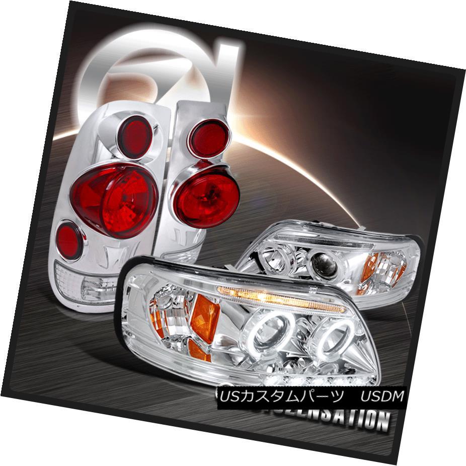 ヘッドライト 97-03 Ford F150 Chrome Halo LED Projector Headlights+3D Altezza Tail Lamps 97-03 Ford F150 Chrome Halo LEDプロジェクターヘッドライト+ 3D Altezzaテールランプ