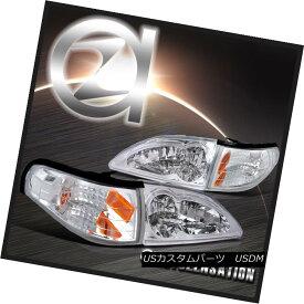 ヘッドライト 94-98 Ford Mustang Crystal Clear Headlights & Corner Signal Lights 4PC 94-98 Ford Mustangクリスタルクリアヘッドライト& コーナー信号ライト4PC