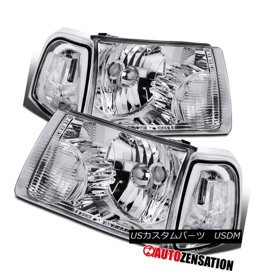 ヘッドライト Ford 01-11 Ranger Pickup Crystal Chrome Headlights+Clear Corner Signal Lamps フォード01-11レンジャーピックアップクリスタルクロームヘッドライト+ Cle arコーナー信号ランプ