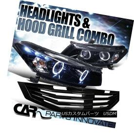 ヘッドライト Fit 2008-2010 Honda Accord 2Dr Glossy Black Projector Headlights+Mu Hood Grille フィット2008-2010ホンダアコード2r光沢ブラックプロジェクターヘッドライト+ムーフッドグリル