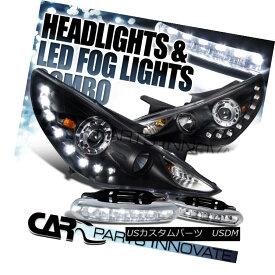 ヘッドライト Fit 11-14 Sonata Black Projector Headlights+SMD LED Lamps+LED Fog Bumper DRL フィット11-14ソナタブラックプロジェクターヘッドライト+ SMD LEDランプ+ LEDフォグバンパーDRL